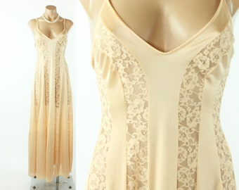 70s OLGA Full Sweep Nightgown Peach Nylon Lace Lingerie Vintage 1970s Small S Petite