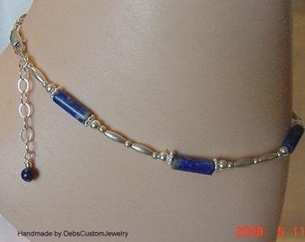 Lapis Lazuli Sterling Silver Anklet