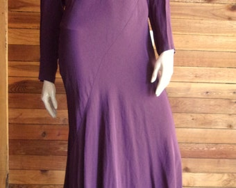 Vintage 1980s SAKS FIFTH AVENUE Plum Size 6 Maxi Dress Style 3078