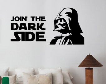 Star Wars Wall Decal Darth Vader Sticker Join the Dark Side Quote Art Decorations for Home Housewares  Living Room Bedroom Movie Decor sws15