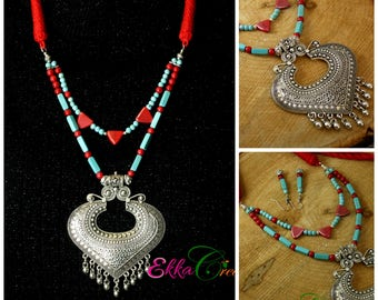 Bohemian necklace set/turquoise and coral necklace/boho/statement necklace/Boho Jewelry/ethnic necklace/indian dori thread necklace