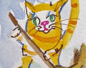 Aceo Cat broom artist trading card original watercolor painting Art by Delilah