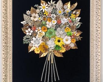 Framed Flower Bouquet Art / Vintage Costume Jewelry