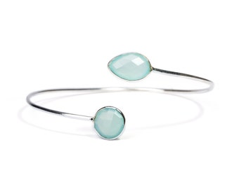 Dainty Aqua Chalcedony Semi Precious Gemstone Sterling Silver Cuff Bracelet Adjustable Gift Boxed + Giftbag + Free UK Delivery