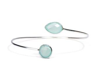 Dainty Aqua Chalcedony Semi Precious Gemstone Sterling Silver Cuff Bracelet Adjustable Gift Boxed + Giftbag + Free UK Delivery