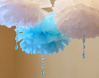 White and Blue Crystal drop poms  SET OF THREE baby shower first birthday party decoration Winter Wonderland ONEderland Frozen icicle