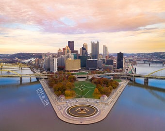 Pittsburgh Skyline at Sunset (Pittsburgh Photography, Aerial Pittsburgh, skyline)