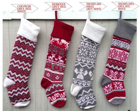 Personalized Large 28 Knitted Christmas Stockings Red