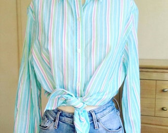 90s Ralph Lauren striped cotton button up shirt, button down, pastel spring blouse, long sleeve, sheer, womens large
