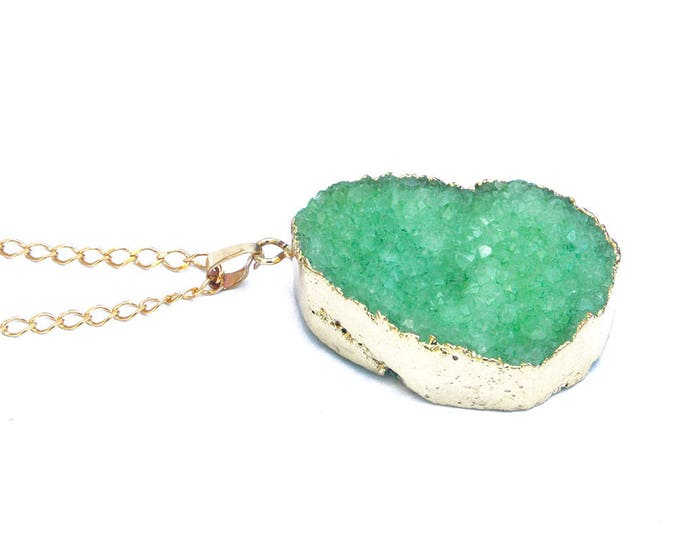 Necklace with a large druze stone - many colors