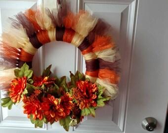 Harvest floral & tulle wreath