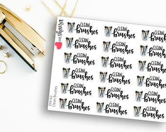Clean Brushes | Makeup Junkie, Makeup Brushes, Make Up, Cosmetics Brushes, Wash Brushes - Hand Drawn and Hand Lettered Planner Stickers