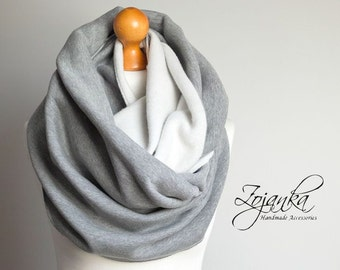 GRAY CHUNKY Infinity Scarf, infinity scarf, extra CHUNKY hooded snood, winter scarf, cozy snood, sweatshirt jersey scarf, hooded scarves