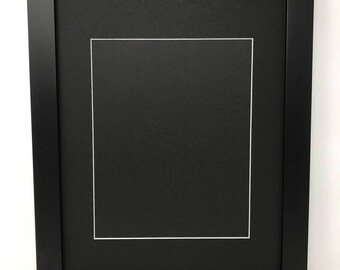"""18x24 1.25"""" Black Solid Wood Picture Frame with Black Mat Cut for 8x10 Picture"""