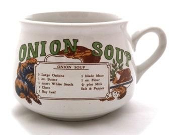 Vintage Onion Soup Mug - Recipe Mug - Ceramic Mug - Retro - Soup Mug - White Mug - Winter Mug