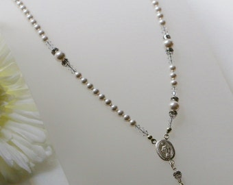 Swarovski White Pearl Catholic Rosary Necklace in Sterling Silver