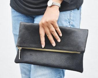 Black calf hair clutch, leather fold over clutch, black clutch, pony hair leather clutch, leather clutch black, pony purse, leather purse