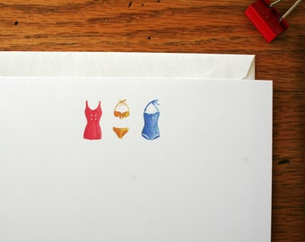 Flat note cards, Note cards, All occasion flat note cards, Watercolor note cards, Vintage swimsuit note cards, Correspondence, Stationery