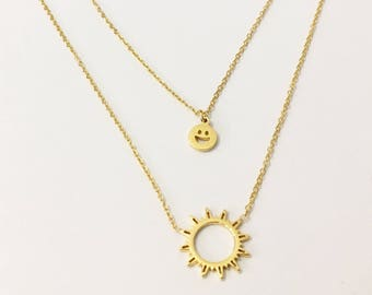 Smile Necklace, Smiley Face and Sun Necklace, Dainty Happy Face Necklace, Emoji Smiley Face Necklace, Emoji Necklace