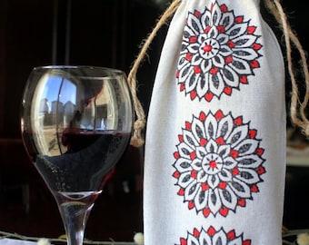 Hand Block Printed Drawstring Wine Bag, Hand stamped Eco-friendly wine bag, Linen Wine Bag