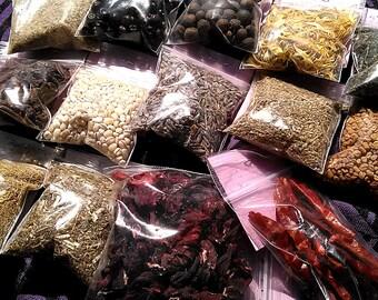 Dried Herbs Botanica - Coven Pagan Wicca Supplies for Spellcasting - Hyssop Rose Fenugreek Cinnamon Mugwort Cedar Juniper Peppermint Nettle