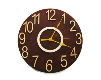 Round Large brown wall clock Kids Home Office Kitchen Wall art Children room Christmas gift