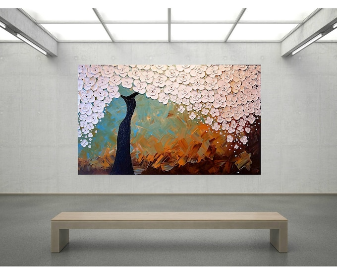 Impasto Acrylic Flower Painting Palette Knife Brush White Blue Brown Tree of Life Large stretched canvas