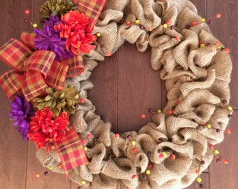 Large Fall Wreath with Mums - Fall Burlap Wreath - Autumn Wreath - Front Door Fall Wreath - Burlap Wreath with Berries