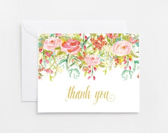 Flower Thank You Card, Baby Shower, Bridal Shower (336_thankyou)
