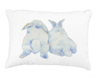 "Rabbits Pillow Cover, Watercolor Bunny Pillow Cover 12""x16"", Rabbit Decor, Bunny Decor, Nursery Pillow, Nursery Decor, Bunny Gift"