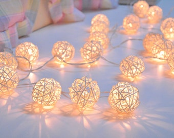 Handmade White Rattan ball string lights for Patio,Wedding,Party and Decoration (20 bulbs)