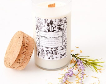 Lavender + Chamomile| soy candle| all natural fragrance| essential oils| vegan| 16oz