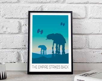 Star Wars Poster, Star Wars print, Star Wars art, The Empire Strikes Back poster, Star Wars wall art, Star Wars wall decor, Gift poster