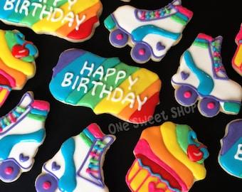 Rainbow Rollerskate Cookies