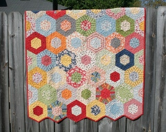 Baby Quilt /  Quilt / Custom Quilt / Quilts for Sale / Hexagon Quilt / Gender Neutral Quilt / Crib Bedding / Baby Shower / Made to Order