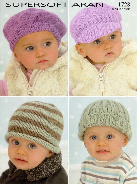 Knit Baby Hats Vintage Knitting Pattern bonnet visor beanie beret ...