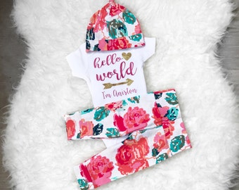 Hello World Newborn Outfit Girl, Hello World Onesie, Hello World Outfit, Newborn Girl Coming Home Outfit, Going Home Outfit Girl
