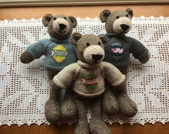 Brown Knit Teddy Bears in Easter Egg Sweaters