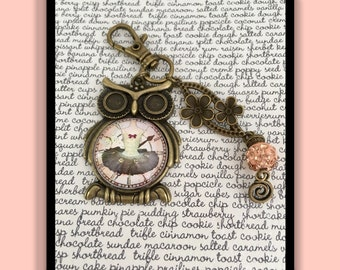 Clock ruffled bag charm
