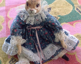 Vintage ceramic/ cloth rabbit/ Easter decor