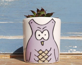Cacti Planter, Purple Owl Planter, Desk Planter, Small Planter, Air Planter, Gift For Her, Succulent Planter, Modern Planter