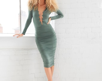 Marta - Lace Up Ruched Midi Dress