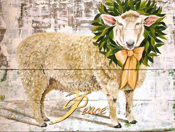 Sheep original acrylic painting on reclaimed rustic solid wood Peace
