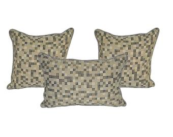 "Set of 3 ~ Tan, Gray, Brown Elegant Polka Dot Fabric Pillows with Gray Cording / Piping  2 - 20"" Square & 1 - Jumbo Lumbar / Rectangle"