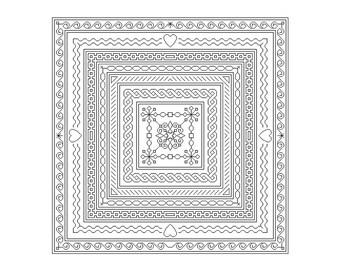 Blackwork Pattern Blackwork Embroidery Pattern Chart Instant Download PDF Blackwork Border Sampler
