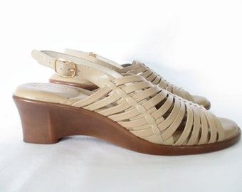 Vintage Strappy Leather Wedge Sandals Beige Leather High Heeled Sandal Open Toe Wedges  1980's Leather Sandals
