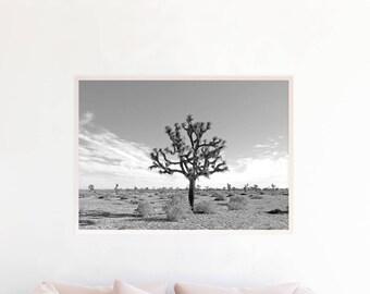 Joshua Tree Print, Joshua Tree Wall Art Printable, Joshua Tree Desert Photography Download, Joshua Tree Art, Desert Art Print Photo, jt2bwl