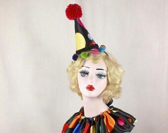 Black Multi Colored Polka Dot Clown Hat with Pom Poms, Halloween Costume, Circus Headpiece, Carnival Headwear