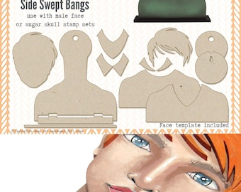 Mens Portrait Media Blanks ~ Side Swept Bangs Kit ~ Paperbabe Stamps ~ MDF Substrate for mixed media and craft.