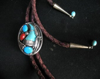 Vintage Navajo Bolo Tie Turquoise Bear Claw Coral Leaves Sterling Silver